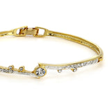 Two Plated White Crystal Stone Bangle Bracelet For Women