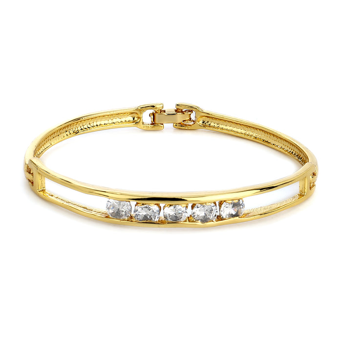 Gold Plated White Stone Adjustable Bangle Bracelet