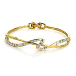 Gold Plated White Crystal Stone Bangle Bracelet