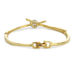 Gold Plated White Crystal Stone Designer Bangle Bracelet