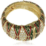 Estele Gold Plated Diamond Pattern Green and red Enamel Cuff Bracelet for women