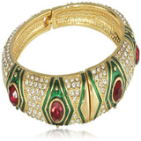 Estele Gold Plated Red Diamond Studded Cuff Bracelet   for women