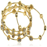 Estele  Gold Plated Diamond Studded Oval Bangle Bracelet  for women