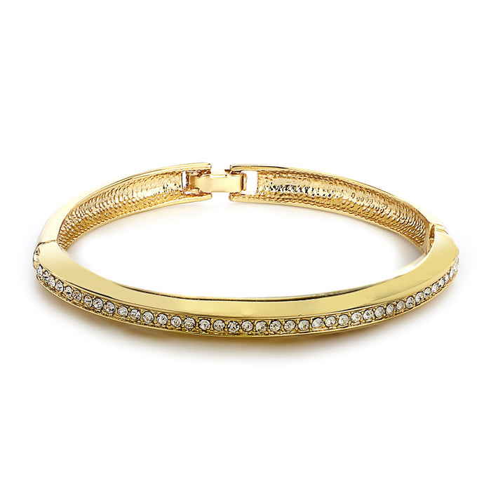 Gold Tone Plated White Stone Kaada Bracelet For Womens