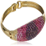 Estele Gold Plated Pink and White Crystal Cuff Bracelet  for women