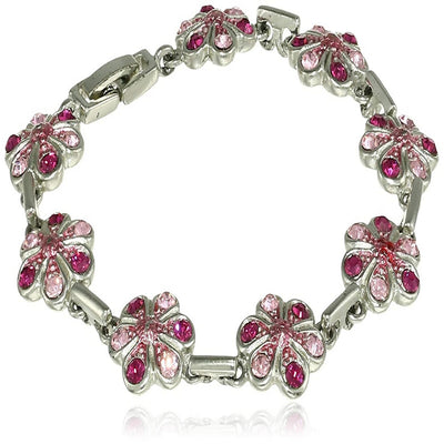 Estele Rhodium Plated Pink Blossom String Tennis Bracelet for women