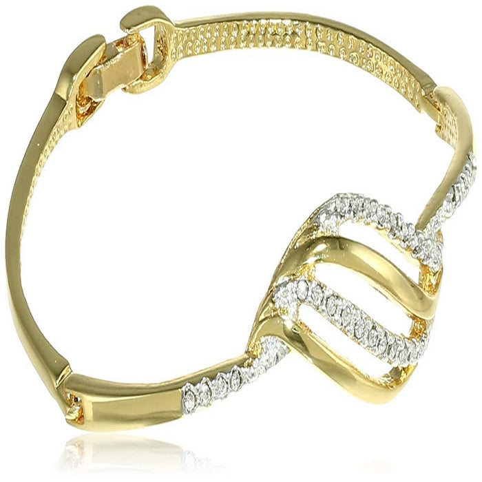Estele  Gold and Silver Plated Bow Wave Cuff Bracelet for women