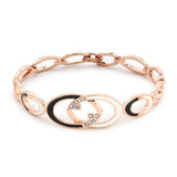 Rose Gold Black And White Enamel Bracelet
