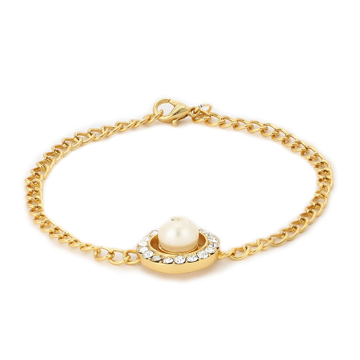 Pearl With White Stone Bracelet