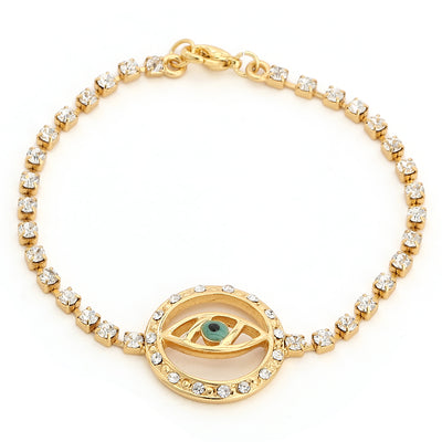 Evil Eye Bracelet With White Austrian Crystal