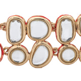 Traditional Gold Tone Kundan Double line  Wrap bracelet