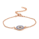 Estele Coin Evil Eye Rose Gold Bracelet Using Swarovski Stones (adjustable)
