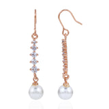 Rose gold Pearl Drop Tassel Earrings