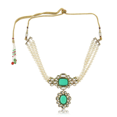 Pearl Necklace With White Mirror Kundan Set