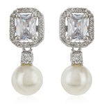 AD stone Pearl Drop EArrings