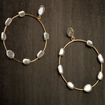 Mirror embellished hoops