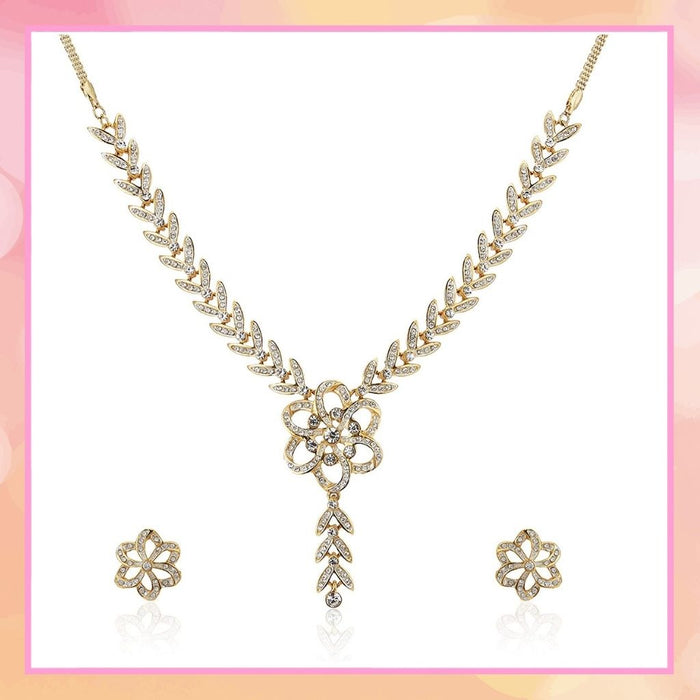 Estele 24 Kt Gold Plated Flower Shape with Austrian Diamond Necklace Set for Women