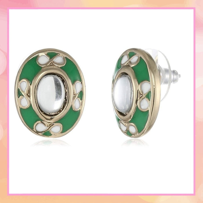 Estele Non-Precious Metal  Gold Plated Green Enamel Oval kundan Stud Earrings for Girls/Womens