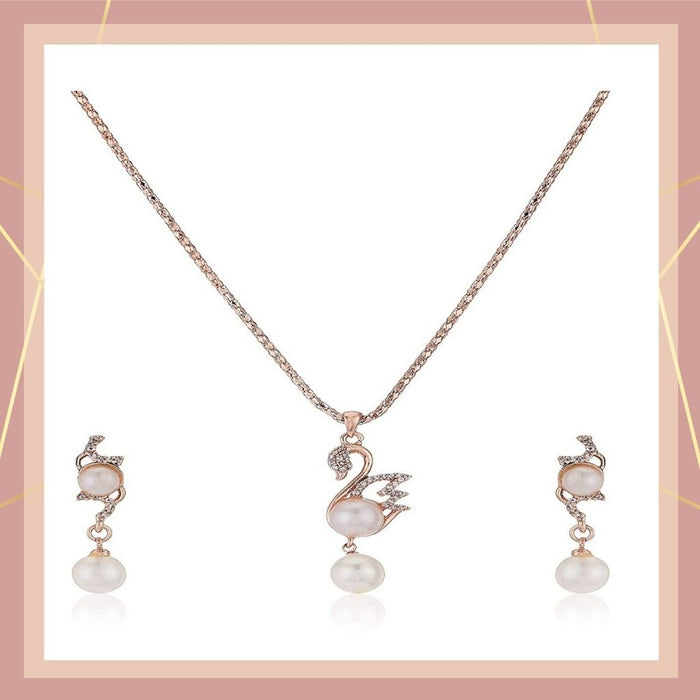 Estele 24 Kt Rose Gold Plated CZ Pearl Swan  Chain Necklaces