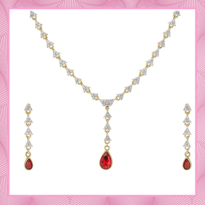 Estele - 24 KT Gold plated Necklace Set with Austrian Crystals and Red Stones for Women