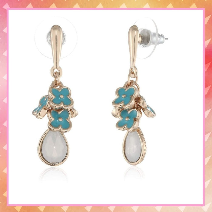 Estele Aqua coloured rose gold plated charms hanging earrings for women