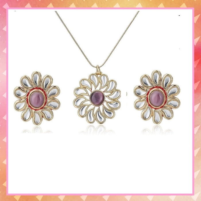 Estele Gold Plated Kundan Sunflower Necklace Set for Women