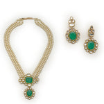 ESTELLE - PEARLS ; KUNDAN AND GREEN ENAMEL LONG HAAR