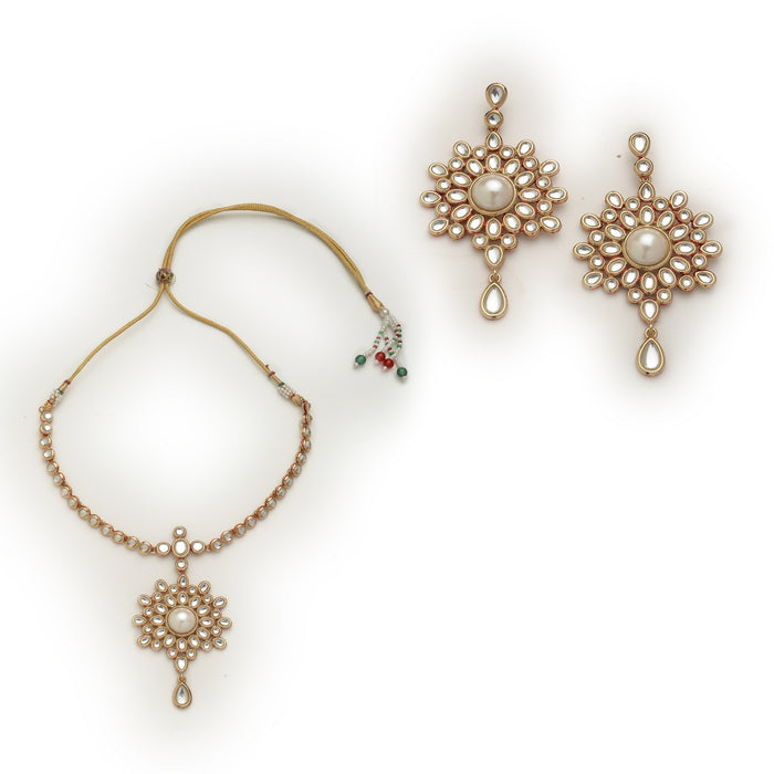 Antique Gold Plated Kundan Necklace Set