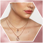 Rose Gold Pearl With Ad Stone Necklace