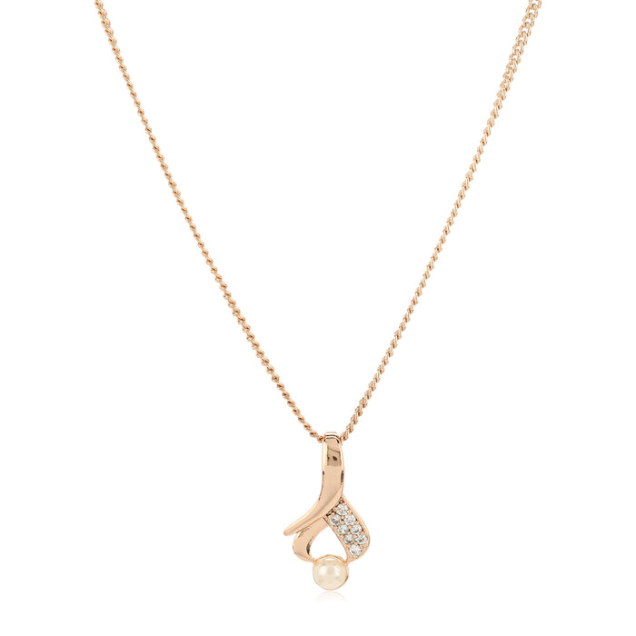 Rose Gold White Ad stone Pendant Set And Earrings For Girls And Women