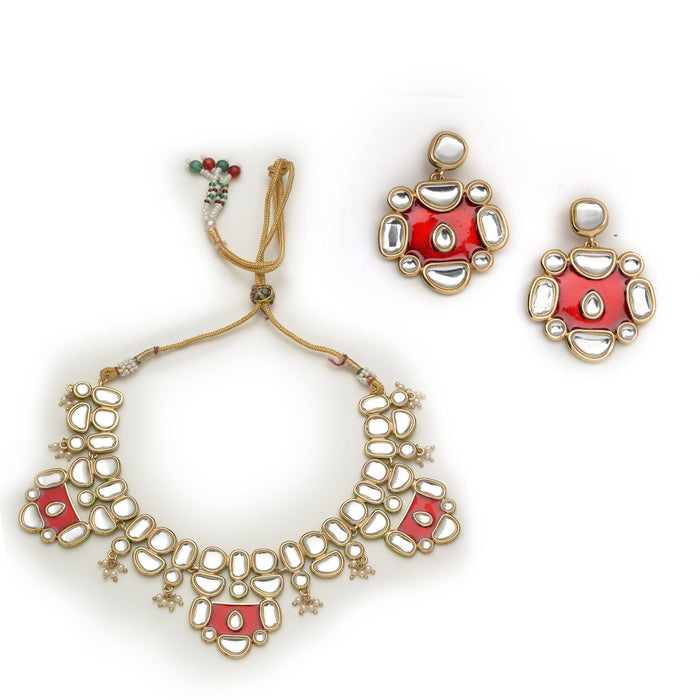 Red Enamel Necklace set