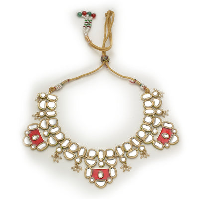 Traditional Gold tone Designer Red Enamel Kundan Necklace set