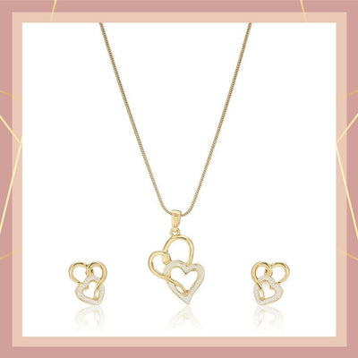 Two Tone Plated Heart Shaped Lock  With Earrings