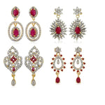Diamante Earrings With Ruby Stones Combo Set
