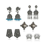 Oxidized Silver Earrings Set Of 5