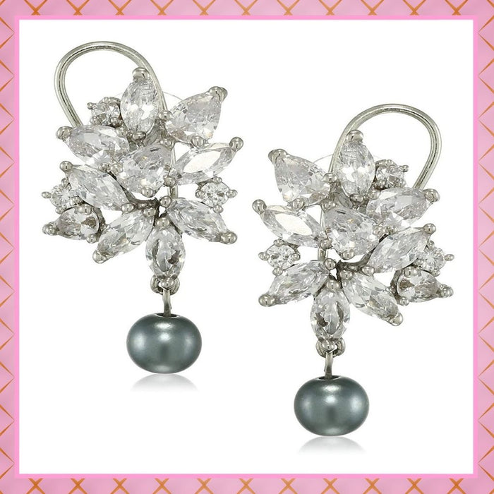 Estele Rhodium Plated American Diamond Pear Marquise cluster Grey Pearl Drop Earrings for women
