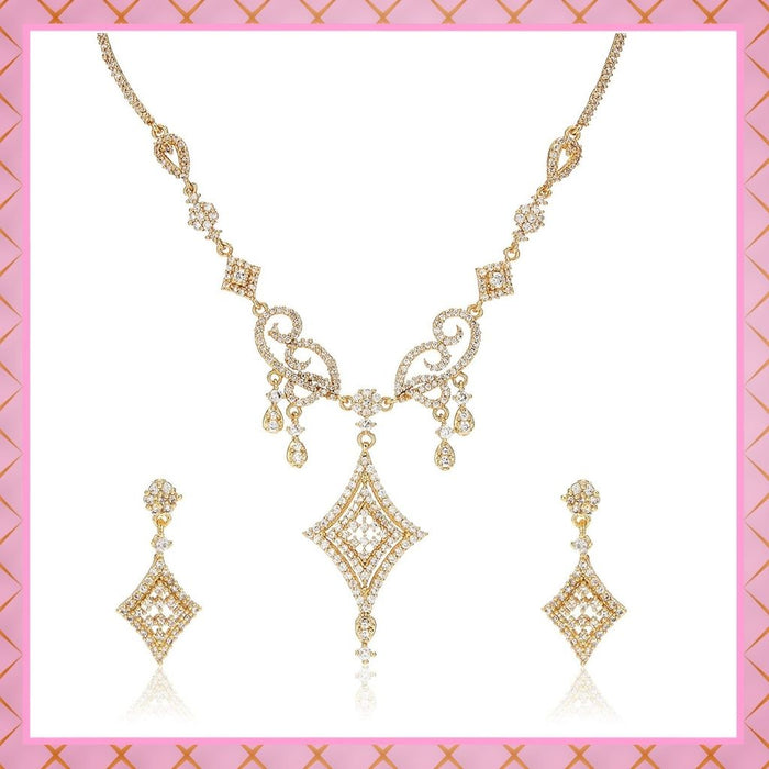 Estele 24 Kt Gold Plated Geometric Shaped American Diamond Necklace Set for Women