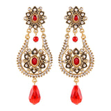 Traditional Gold Plated Pearl Dangle Drop Earrings for Women