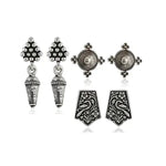 Oxidized Silver Earrings Set Of 3