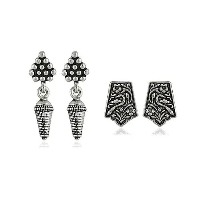 Oxidized Silver Earrings Set Of 2