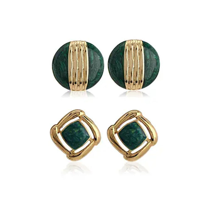 Green Enamel Earrings Combo