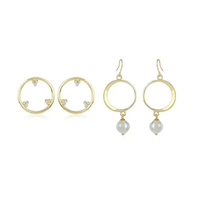 Gold And Diamond Earrings Combo