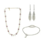Pearl Necklace & Cat Eye Earrings Bracelet Combo