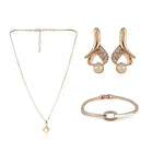 Elegant Rose Gold Earrings & Bracelet Set