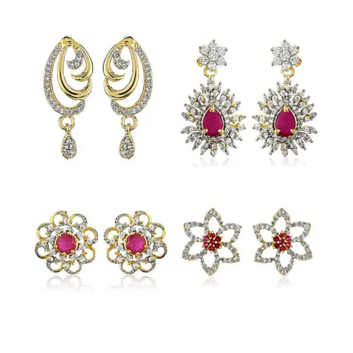 Diamond Earrings With Ruby Stones Set