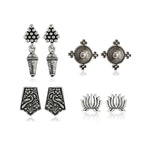 Oxidized Silver Earrings Set Of 4