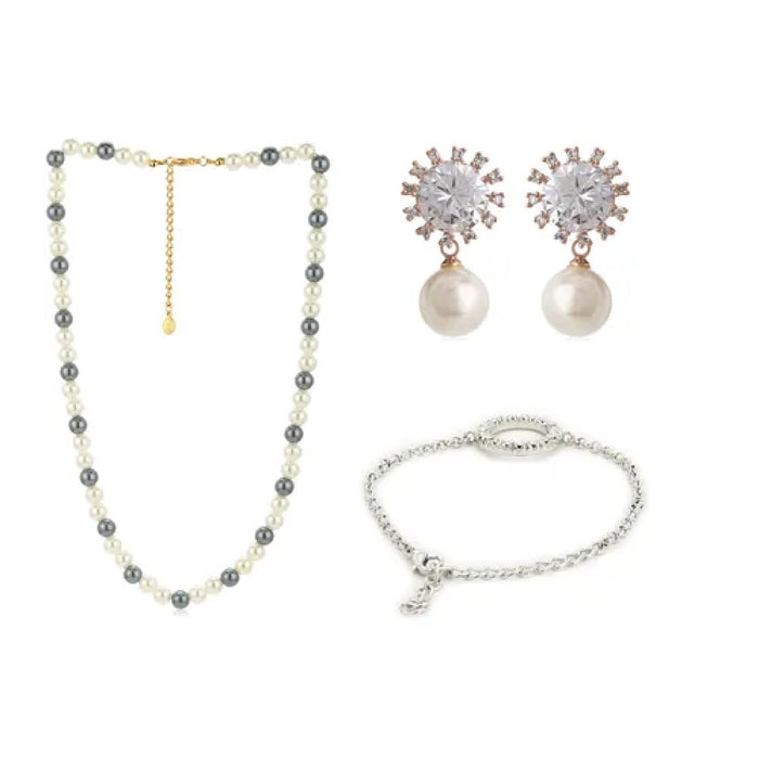 Classic Pearl Necklace, Earrings And Bracelet Combo