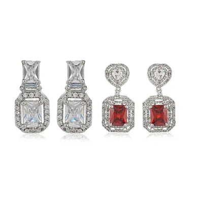 Diamante Fancy Earrings Set With Semi Precious Stones