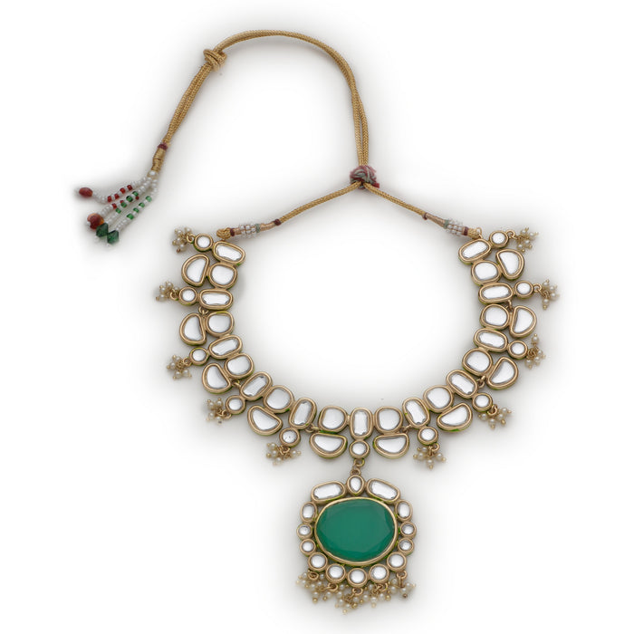 Traditional Gold Plated Kundan Polki Crystal Necklace