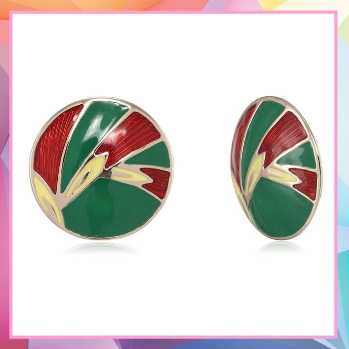 Estele Gold Tone Designer Green passion enamel Stud Earrings for women